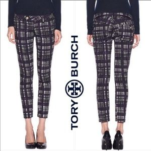 Tory Burch Plaid Connor Tab Front Pants size 26